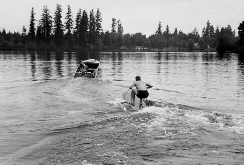 051A Lake Sawyer--Our First Boat-Trafford Dahl tries Surfboard, July 21 1949