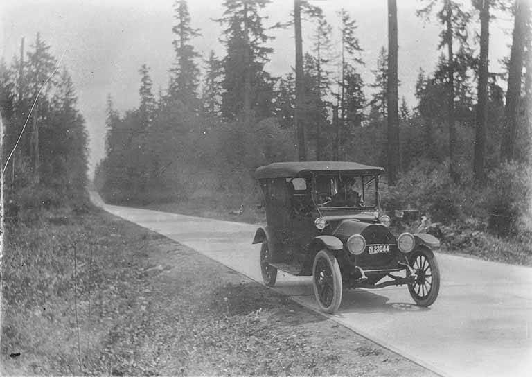 Studebaker paved road to Enumclaw 1920