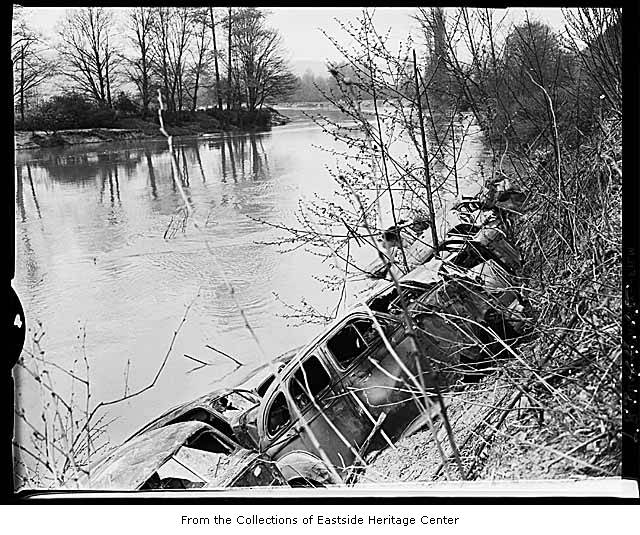 Car bodies on riverbank 2