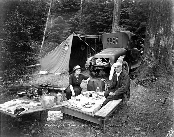 Car camping 1920 silver lake