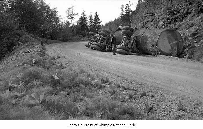 Log truck overturned 2