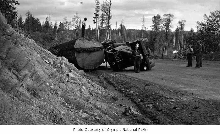 Log truck overturned