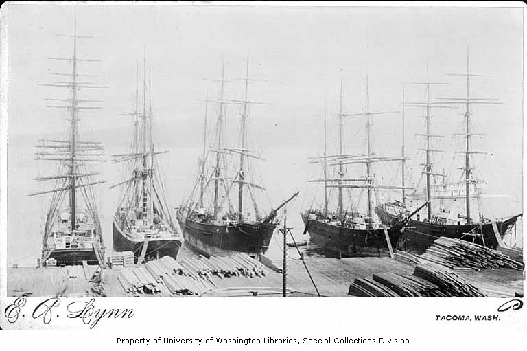 Tacoma lumber sailing ships 1885